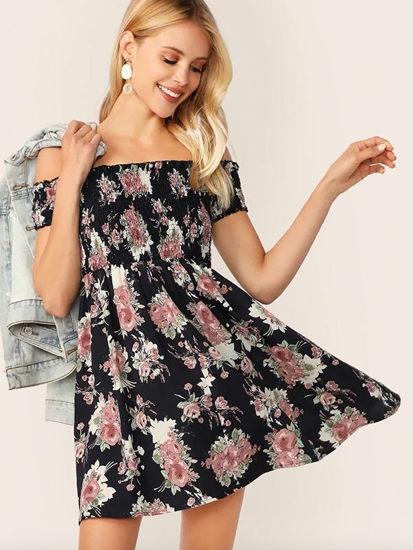 Флорална дамска рокля Off Shoulder Shirred Bodice Floral Dress