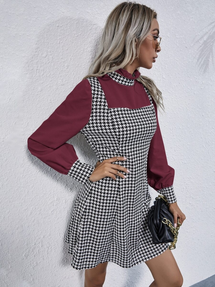 Карирана рокличка Frilled Neckline Color Block Houndstooth Dress