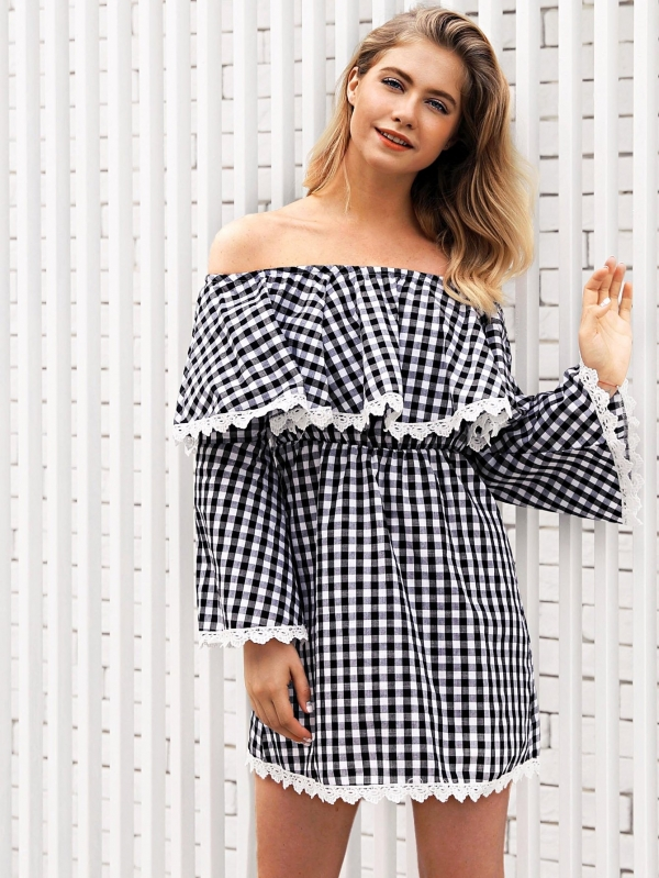 Карирана рокля Off Shoulder Lace Panel Plaid Dress