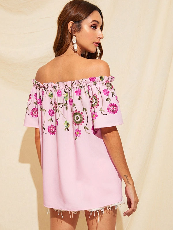 Кокетна дамска блуза Off Shoulder Frilled Trim Flower Embroidered Blouse