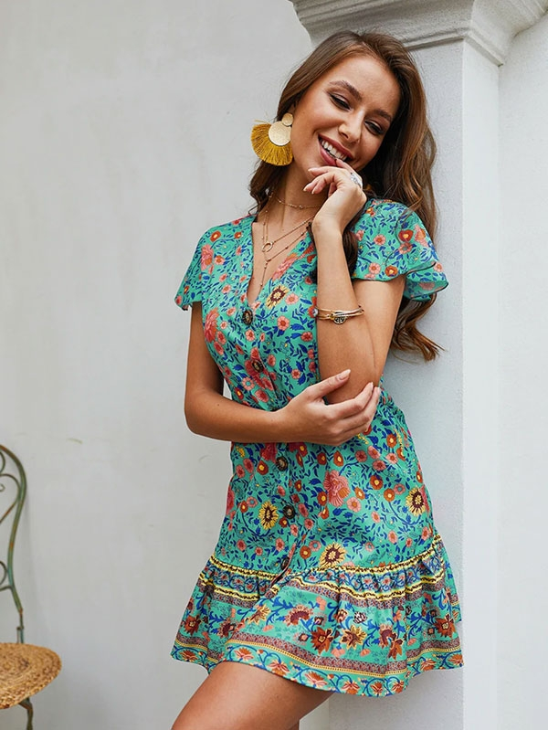 Лятна дамска рокличка Ditsy Floral Button Front Ruffle Hem Dress