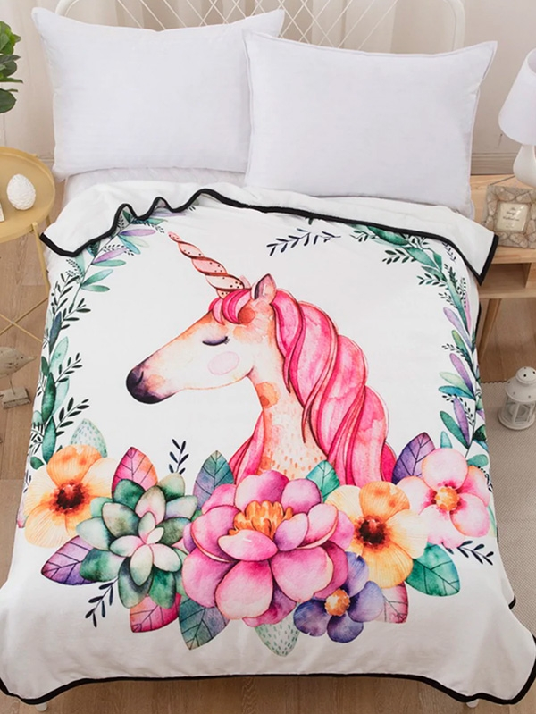 Меко пухкаво одеяло Unicorn Print Blanket