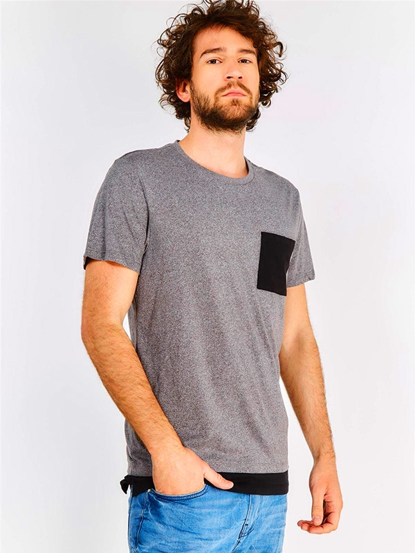 Мъжка тениска Grey Contrast Pocket T-Shirt