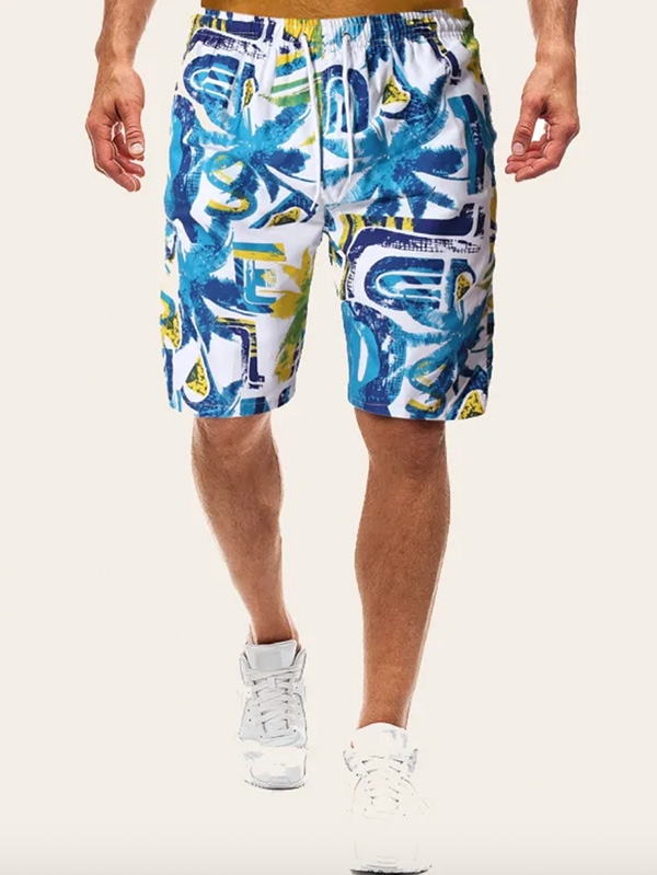 Мъжки къси панталони Men Tropical Print Drawstring Bermuda Shorts