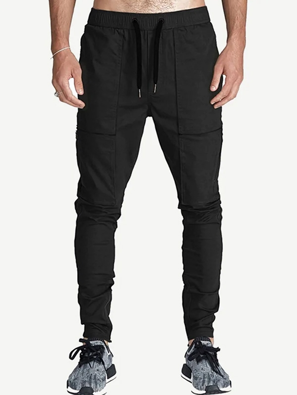 Мъжки панталон Men Drawstring Waist Solid Pants