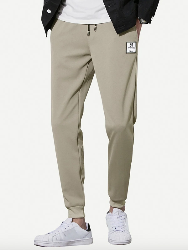 Мъжки панталон Men Letter Patched Drawstring Waist Pants