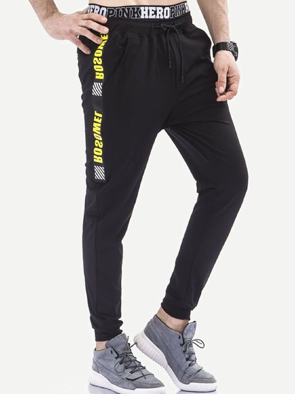 Мъжки панталон Men Letter Print Side Pants