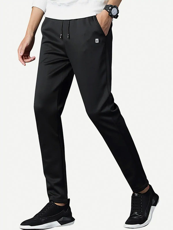 Мъжки панталон Men Patched Drawstring Tapered Pants