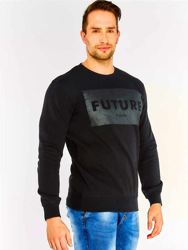 Мъжки суичър Black Slogan Print Sweatshirt