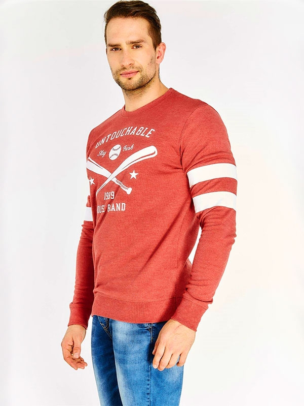 Мъжки суичър Red Slogan Print Sweatshirt