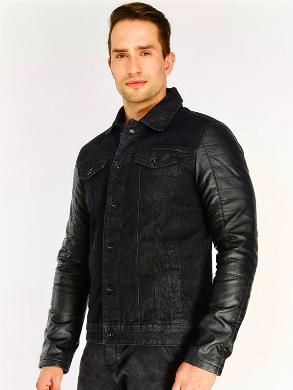 Мъжко яке Black Contrast Sleeve Denim Jacket