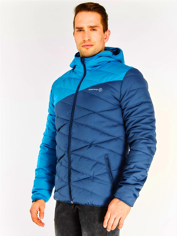 Мъжко яке Blue Contrast Sleeve Quilted Coat