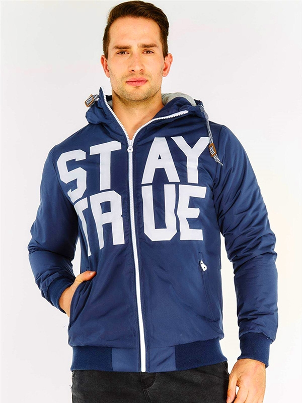 Мъжко яке Navy Slogan Hooded Jacket