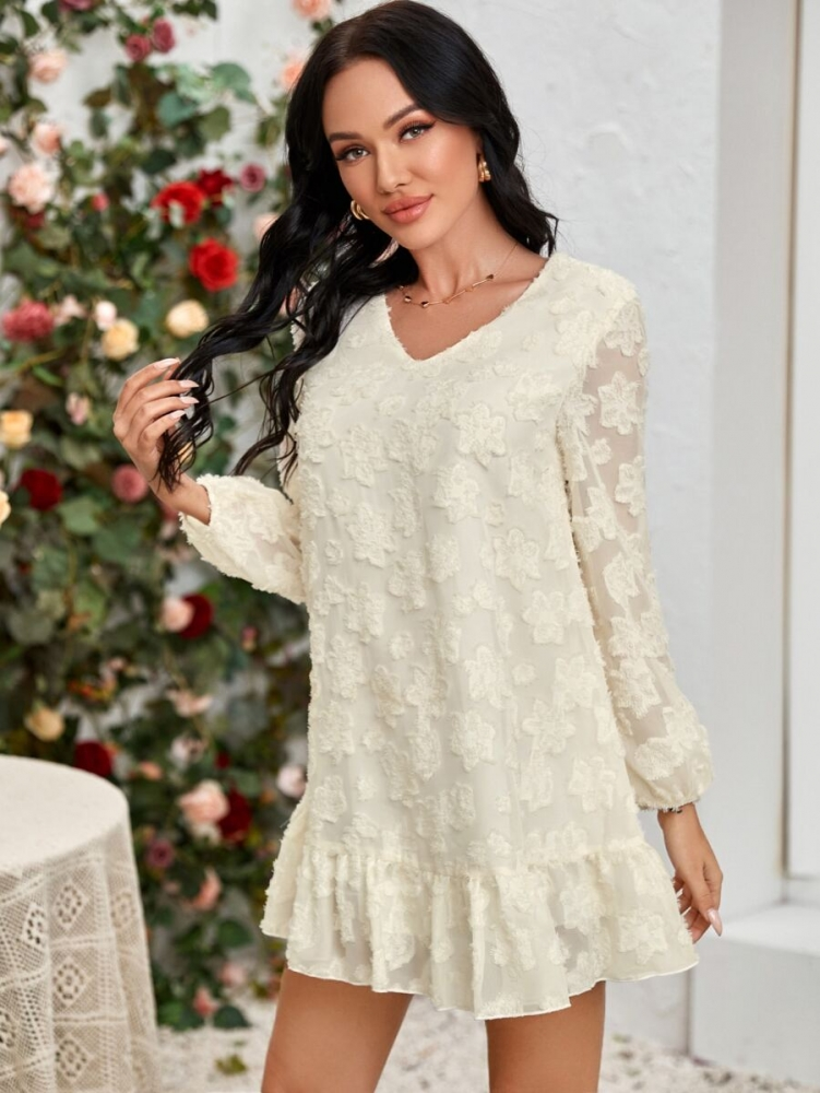 Нежна дамска рокля Fuzzy-flower Ruffle Hem Smock Dress