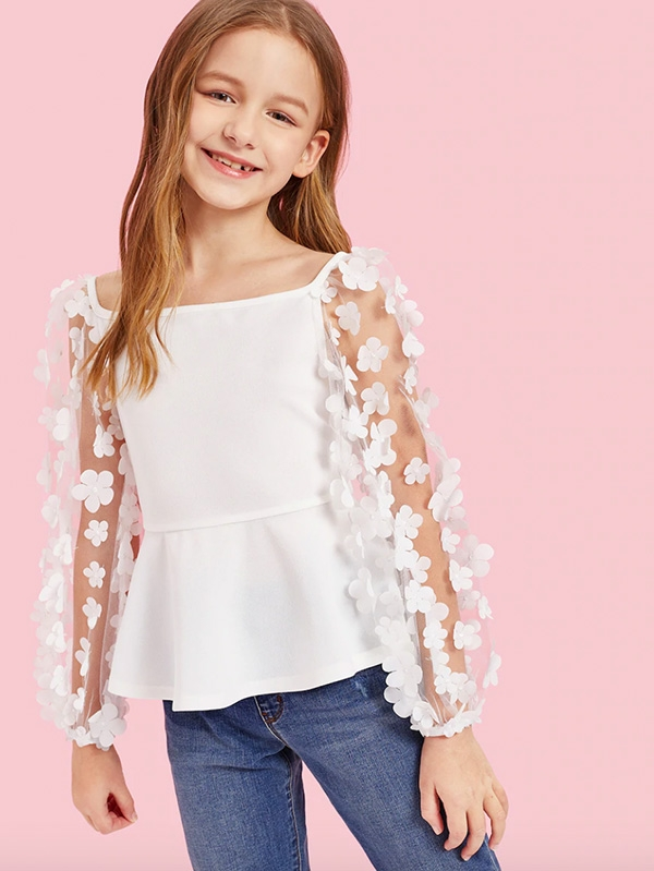 Нежна детска блуза Girls Flower Applique Mesh Sleeve Peplum Top