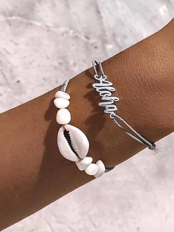 Нежна гривна Shell and Letter Woven Bracelet