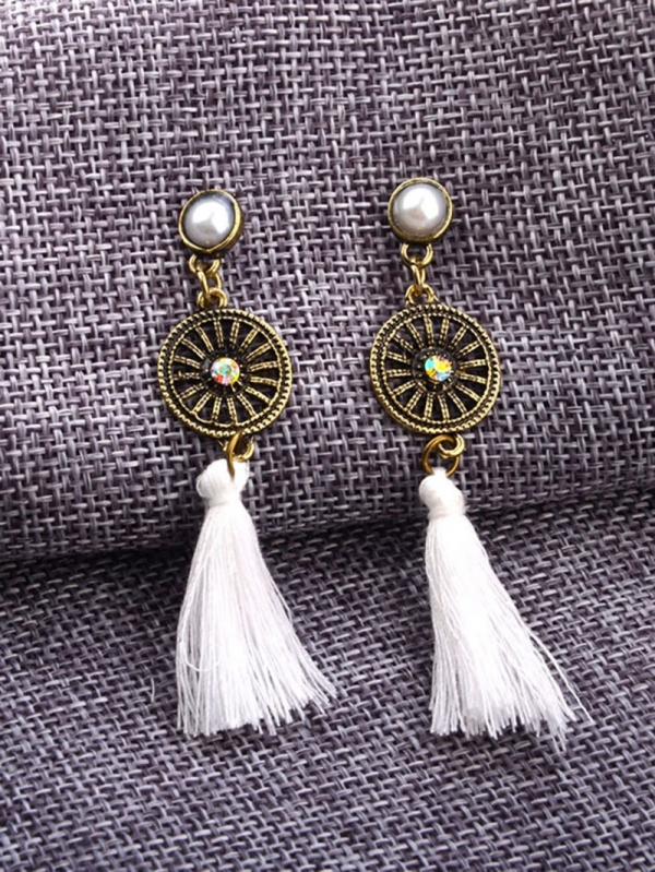 Обеци с пискюли Contrast Tassel Dangle Earrings