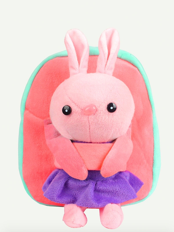 Плюшена раничка Zipper Detachable Rabbit Design Backpack