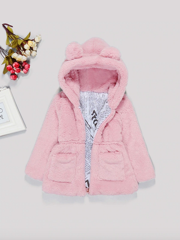 Пухкаво детско палтенце Toddler Girl Solid Faux Fur Teddy Hooded Outerwear