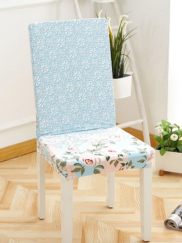 Ретро калъф за стол Flower Print Stretchy Chair Cover