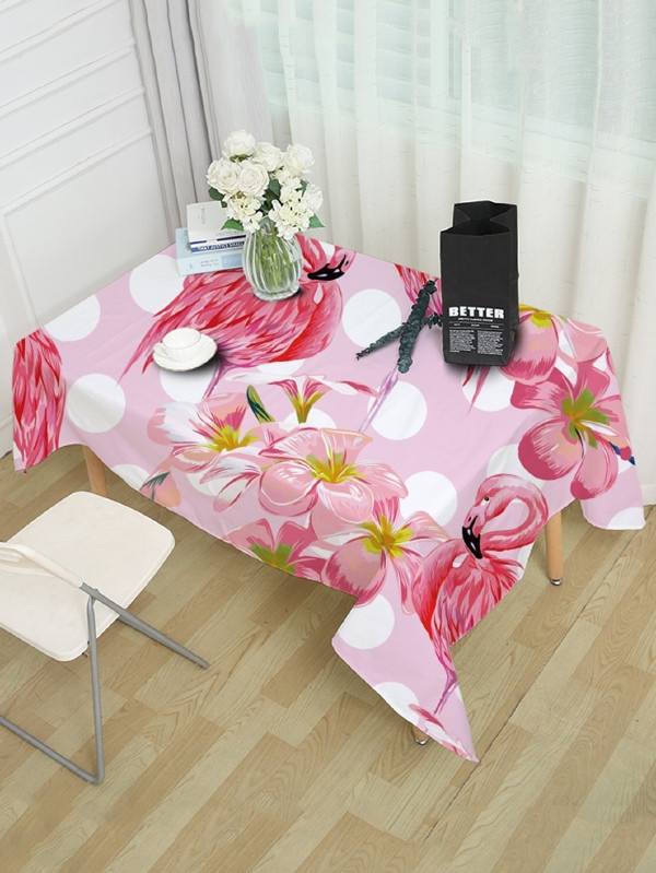 Розова покривка за маса Floral And Flamingos Print Table Cloth