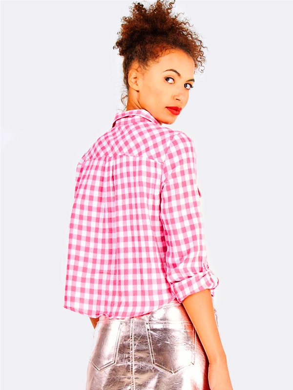 Розова риза Pink Checkered Cotton Shirt