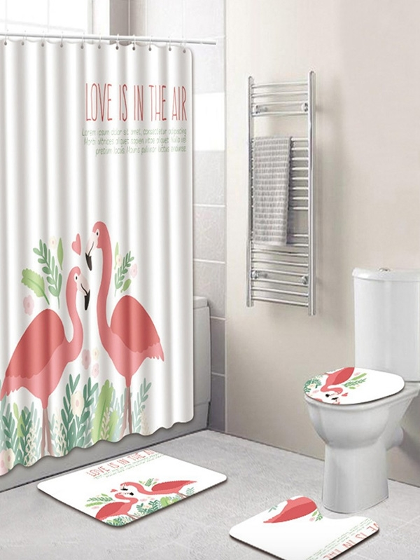 Сет за баня ФЛАМИНГО Flamingo 12hooks Shower Curtain and 3pcs Rug