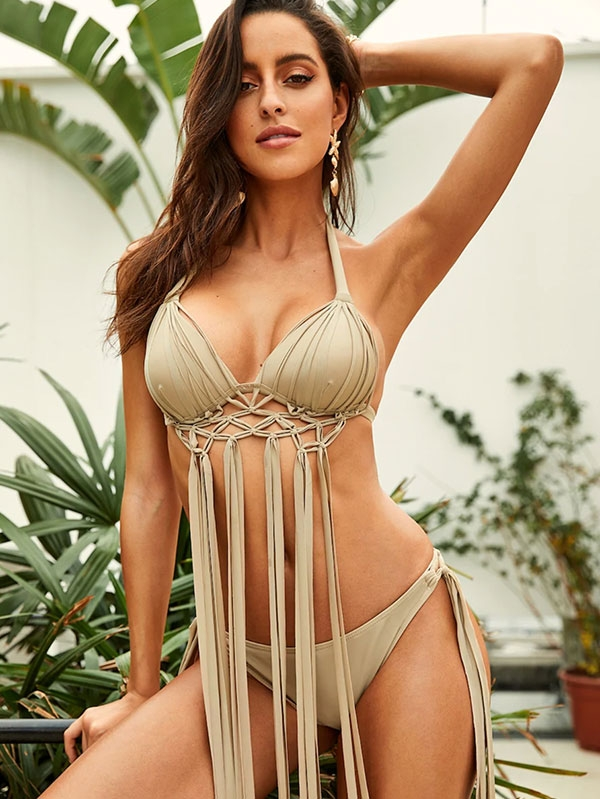 Шикозен дамски бански Exaggerate Fringe Halter Top With Tie Side Bikini