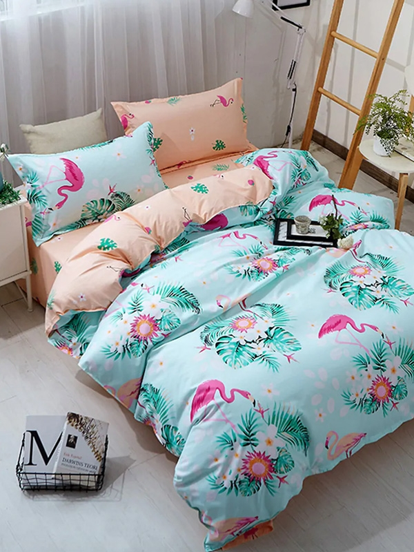 Спален комплект Flamingo and Letter Print Bedding Set