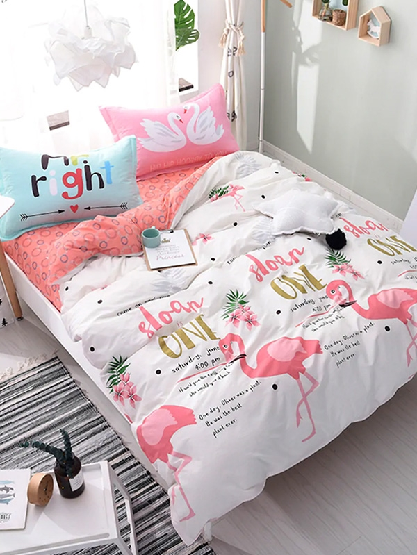Спален комплект Flamingo and Letter Print Duvet Cover Set