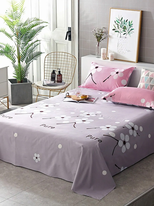 Спален комплект Flower and Letter Print Sheet Set