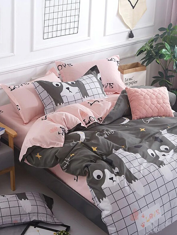 Спален комплект Plaid and Cat Print Sheet Set