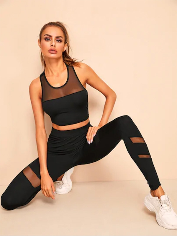 Спортен сет Mesh Insert Tank Top And Leggings Set