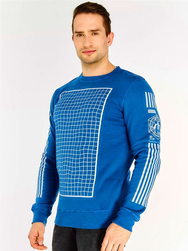 Суичър Blue Grid Detail Sweatshirt
