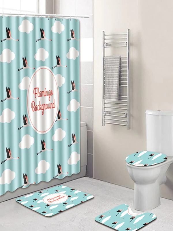 Свеж сет за баня Flamingo 12hooks Shower Curtain and 3pcs Rug