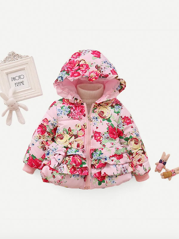 Свежарско детско яке Girls Ruffle Allover Floral Print Hooded Coat