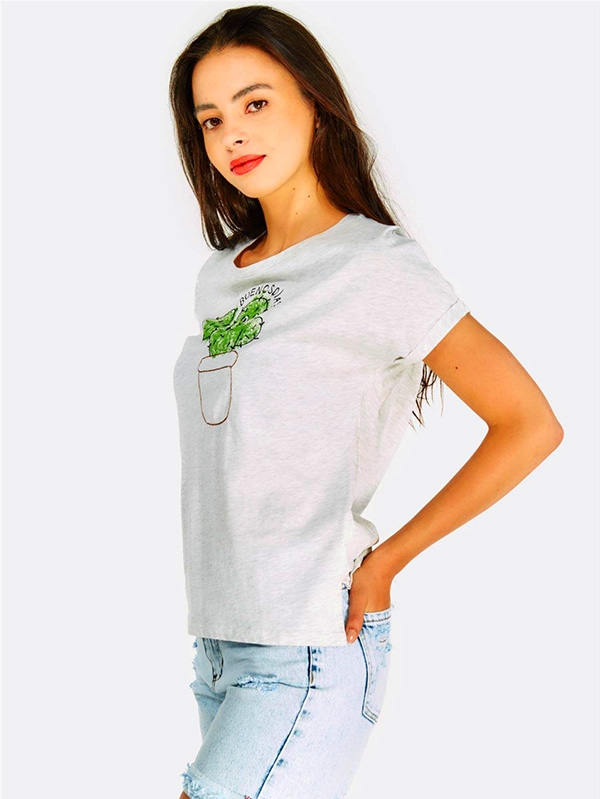 Тениска с кактус Light Grey Cotton T-Shirt With Embroidered Cactus
