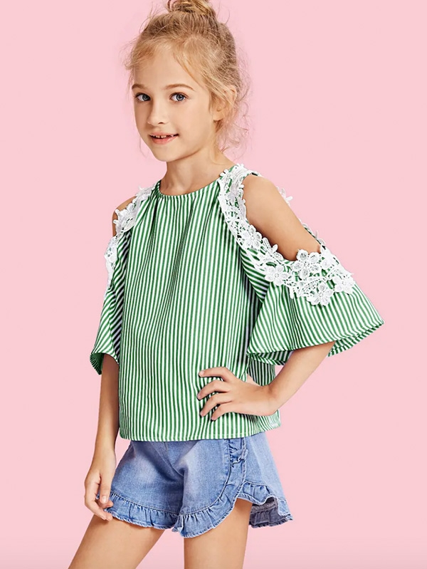 Уникален детски топ Girls Lace Appliques Open Shoulder Pinstripe Top