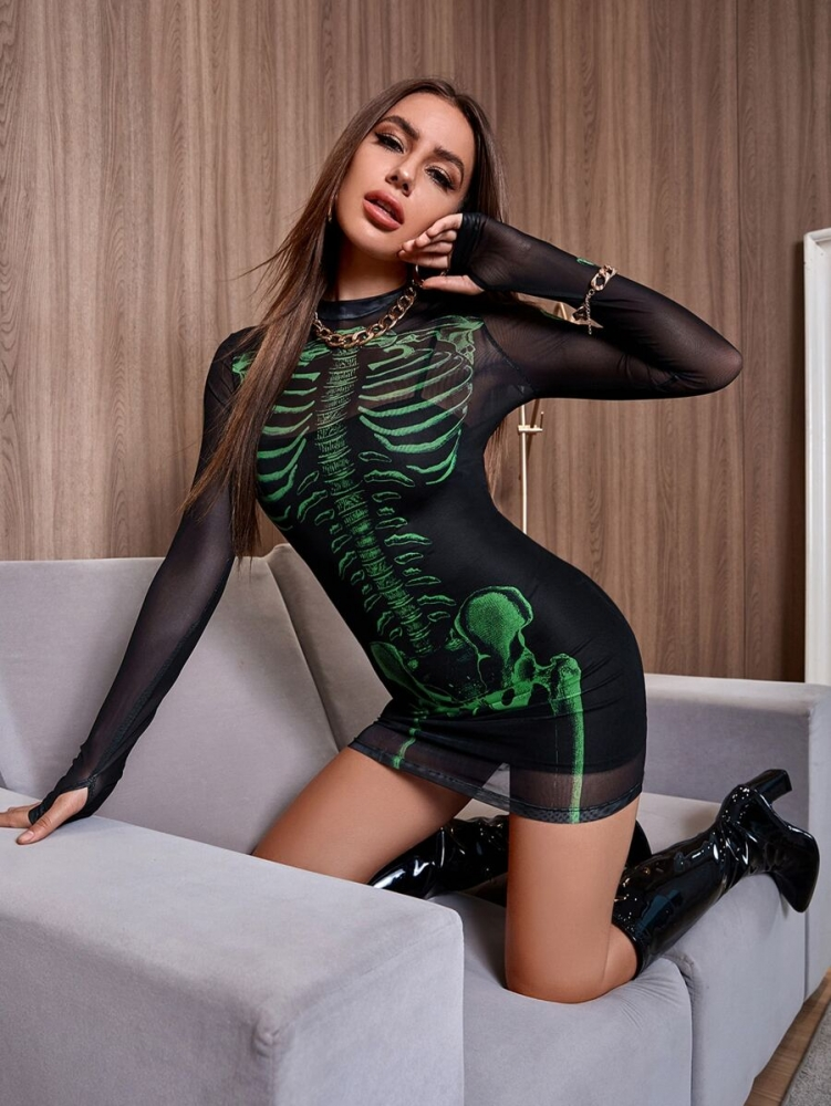 Уникална Хелоуин рокля Mock Neck Halloween Print Sheer Mesh 2 IN 1 Dress