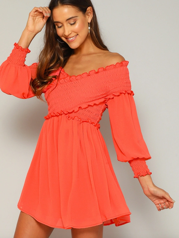 Уникална неонова рокля Neon Orange Crossover Bardot Shirred Dress