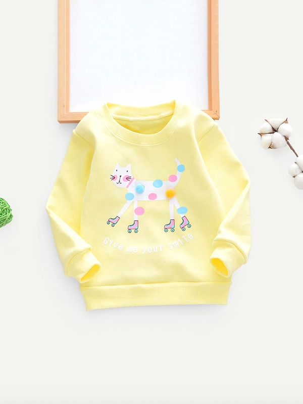 Жълта детска блузка Pom Pom Detail Cat Pattern Sweatshirt