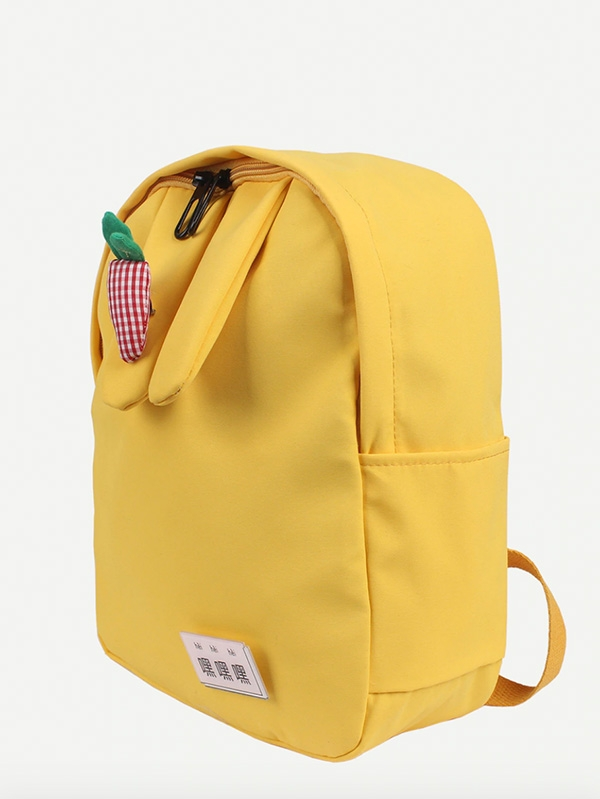 Жълта детска раница Gingham Detail Carrot Decor Canvas Backpack